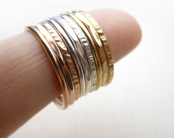 Coin Edge Thin Stacking rings, Set of 6, mixed metals, hammered rings, Gold, rose gold and silver stacking rings. Tri Color, Trio color