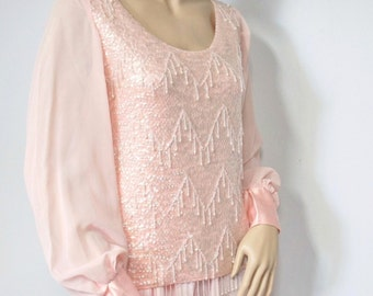 Beaded Blouse Heavily Sequin Bead Sweater Blouse Vintage 1960's Beaded Top Size Small