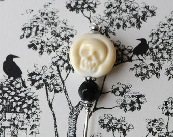 Lamp Work Skull, Etsy Artisan, Ivory Skull, Glass Skull, Limited Edition,  Stick Pin, Hat Pin, Lapel Pin, Steampunk, Ascot Pin, H0365