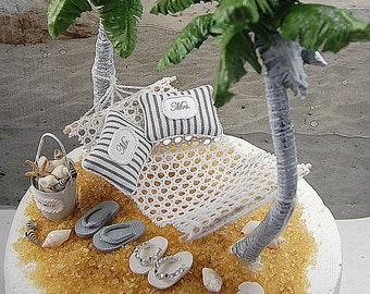 SALE! Honeymoon Hammock Wedding Cake Topper Artisan OOAK Handmade To Order With Palm Trees, Flip Flops, And More