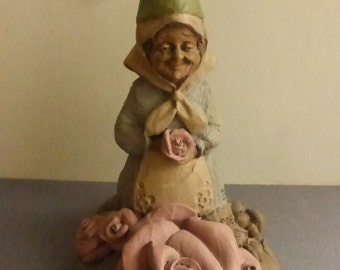 Vintage Cairn Studio Tom Clark Gnome Rosie with Pink Roses  Re-Signed
