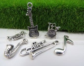 6 JAZZ BAND Theme Charms, Assorted Each is Different, Antique Silver, Music Charm Collection, US Seller, Guitar, Drums, Sax,Tombone, Trumpet