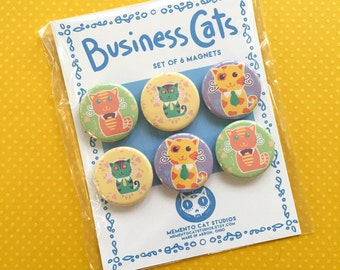 business cats magnets - set of 6