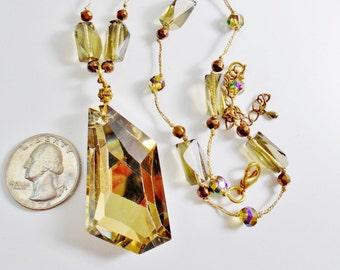 "Vintage Golden Amber Crystal Pendant 2"" Long Big Chunk Brass Choker Necklace Chunky Crystal Art Nouveau Mod Modern Runway Statement"