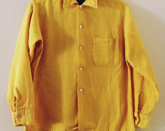 70's Yellow Textured Blouse