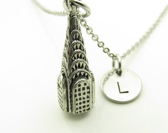 Chrysler Building Necklace, New York Building Necklace, Personalized, Monogram Initial Necklace, Travel Themed Jewelry, Chrysler Tower Y408