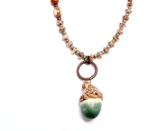 Acorn Necklace, Handcrafted Art Bead Jewelry, Autumn Collection, Green Necklace