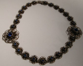 Victorian Revival Necklace w/ Faceted  Blue Set Glass Stone 1940s Jewelry