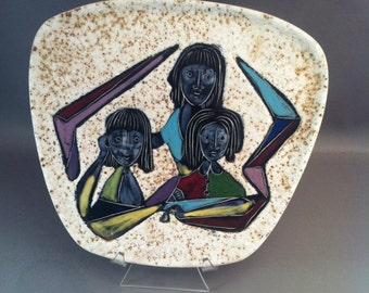 Mid Century Ceramic Enamel Plate, Modernist Ceramics, Mid Century Art, Elegant Enamel Ceramic Plates, Mid Century Design, Cool Mid Century