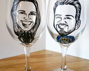 Custom Toasting Glasses - Bride and Groom - Super Hero Vintage Style Original Caricature Wine Glasses