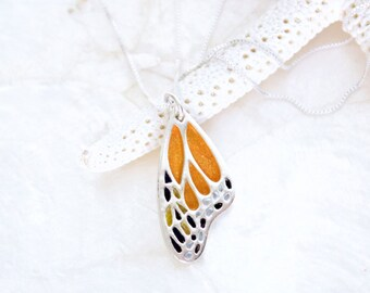 Handcrafted Sterling Silver American Monarch Butterfly Wing Necklace Eco Friendly Recycled Silver - Save the Monarch Butterfly