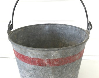 Small Vintage Galvanized Bucket Red Stipe Grey Zinc Fresh Wisconsin Farm Find