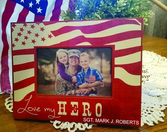 Personalized military Picture Frame, personalized army Gift,  Personalized patriotic Gift, Engraved 4th of july gift, personalized wood