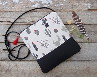 Crossbody Bag, Cactus Handbag, Faux Leather Crossbody Bag, Boho Bag, Adjustable Cross Body Bag, Cactus Purse, Shoulder Bag, Jannysgirl
