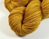 Hand Dyed Yarn - Sport Weight Superwash Merino Wool Yarn - Honey Mustard - Knitting Yarn, Sock Yarn, Sport Yarn, Tonal Yellow Gold Yarn