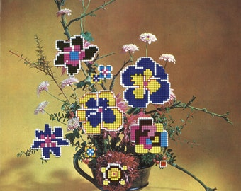 Visual Arrangement III - Limited Edition Print - Yellow, Blue. Pink and Brown Cross Stitch Pansy Flowers Collage - Autumn Home Wall Decor