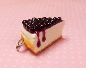 polymer clay blueberry cheesecake charm or key chain, food jewelry, planner charm, fimo