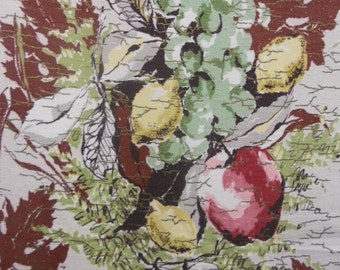 "60s Waverly Vintage ""Harvest Bounty""/MCM/Apples/Lemons/Grapes Bouquet on Taupe Ground w/Bronze Overlay"
