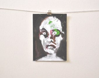 """contemporary expressionism: """"Jack (abject head #3),"""" original mixed media painting"""