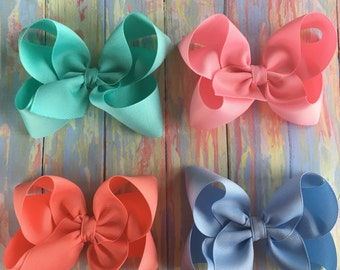 "Pick 4 - Medium Large Hair Bows - Choose Colors - 1.5"" Ribbon - 4 inch Bows ~ Matilda Jane Once Upon a Time Match ~ School Uniform ~"