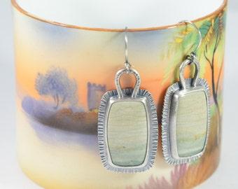 ocean wave jasper rectangle sterling silver earrings