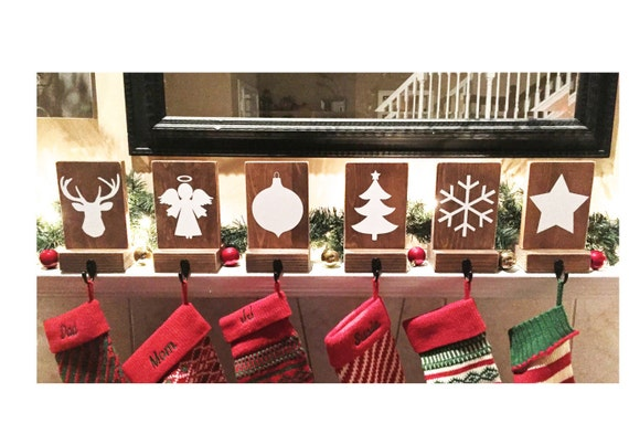 Stocking holders reclaimed wood set of mantle by
