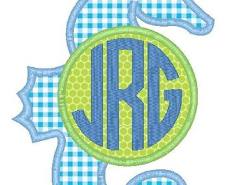 Seahorse Monogram Machine Embroidery Applique Design