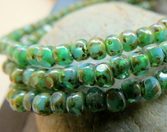 BACK in Stock TRULY COASTAL .  Czech Tri cut Picasso Seed Beads . size 6/0 . (50 beads)