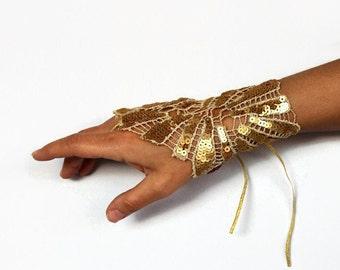 Gold Bridesmaid Cuff Wrist Charm, Grecian Bride, Sequin Handlet Shiny Fingerless Glove, Bridal Wrist Corsage Formal Hand Art Deco Wedding II