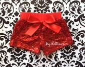 Girls RED Sparkle Sequin SHORTS- girls birthday outfit-girls sequin shorts- nfant toddler shorts-baby girl shorts, cake smash, ready to ship