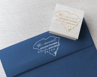 South Carolina Address Stamp – Custom Return State Address Stamp - Wood Mounted or Self-Inking Address Stamp - Address Labels