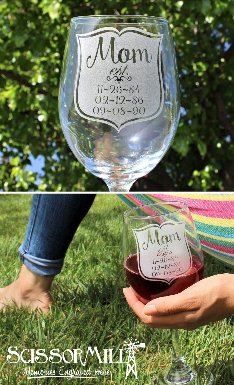 Mothers Day Gift Mom Glass Personalized Wine Glass Mom And