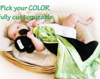 Ninja Security Blanket, Lovey Blanket, Satin, Baby Blanket, Stuffed Animal, Baby Toy - You pick Color - Monogramming Available