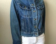 Vintage Women's 80's Lee, Denim Jacket, Long Sleeve, Blue (M)