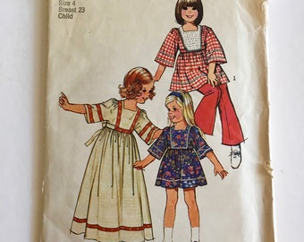 Vintage Sewing Pattern Girl's 70's Simplicity 6054, Caftans in Two Lengths (S)