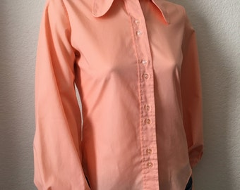 Vintage Women's 70's Boho Blouse, Peach, Long Sleeve, Butterfly Collar by Miss Holly (S)