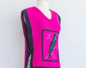 Novelty Vintage, Dark Pink Fuchsia Knit Vest, Parrot Sweater Poncho Vest, One Size - Small/ Medium/ Large