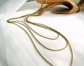 60s Monet Necklace Triple Nugget Chains Pat. Sister Hook Vintage Costume Jewelry