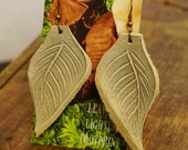 """Earrings 3"""" Cream White Leather Leaf, Woodsy, Leaves, Autumn, Fall, Unique, Handmade, Lightweight, Soft, Dangle, Woodland"""