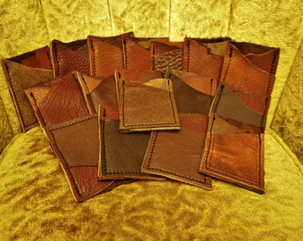IN STOCK! Wallets /Brown Leather/ Credit Card & ID Holders / Two pockets / Patchwork