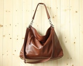 Brown leather hobo bag - Leather purse - Brown leather bag - MAX in cognac