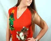 Vintage 80s Teddy Bear XMAS Knit Christmas Sweater Vest