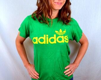RARE! Vintage 1980s ADIDAS Trefoil Green Tshirt Tee Shirt