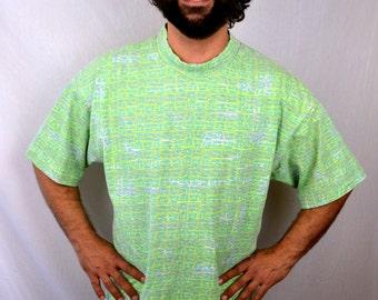 Vintage 1980s Oversized Gotcha Neon Surfer Tee Shirt