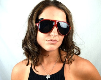 Vintage Weird Red Plastic Aviator Sunglasses