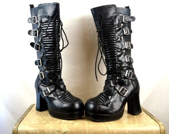 Vintage 90s Buckle Platform Tall Demonia Grunge Punk Club Kid Boots Lace Up Shoes