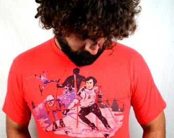 Vintage 1960s 70s RARE Pocket Red Ski Tshirt Tee Shirt
