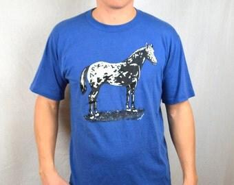 Vintage 80s 90s Blue Horse Tee Shirt Tshirt