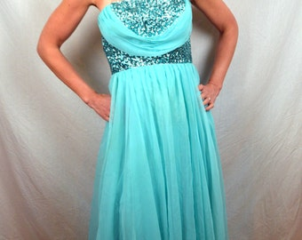 Stunning Mike Benet Blue Sequin Strapless 1960s 60s Vintage Prom Wedding Formal Gown