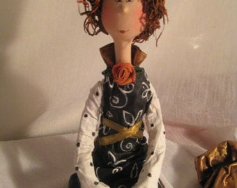ooak art doll-poupée d'art-black and white -bronze -curly hair-figurine -red hair-flowers-marionnette- circus -puppet-poupée-art doll